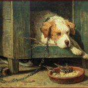 Henriette Ronner-Knip | Kat bespiedt vogels bij een slapende hond , ca. 1875 | Olie op paneel | 32,5 x 44,5 cm